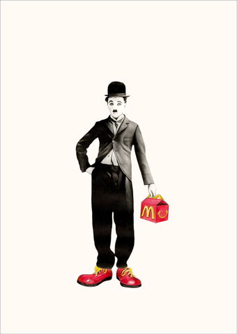 'Clowning,around',Coloured Pencil, Drawing, Icons, Charlie chaplin, print
