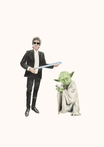 'I'll,let,you,be,in,my,dreams,if,I,can,yours',Coloured Pencil, Drawing, Icons, bob dylan, print, yoda, star wars