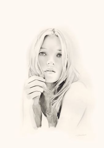 Kate,2,drawing, Kate Moss, print,