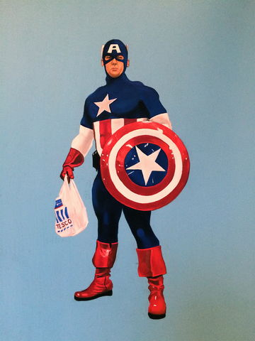 Captain,America,Acrylic painting, marvel, superhero, captain America, figure, tesco, art, artwork, urban, pop
