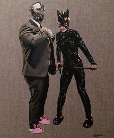 Bane,and,Catwoman,Art, artwork, urban, pop, batman, catwoman, bane, painting, acrylic painting