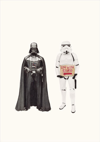 'I'm,with,stupid-Darth,Vader',star wars, art, artwork, print, Giclee, pop, popart, urban