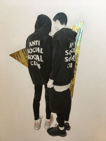 'Anti,social,,social,club',Art, artwork, drawing, gold, gold leaf, pencil