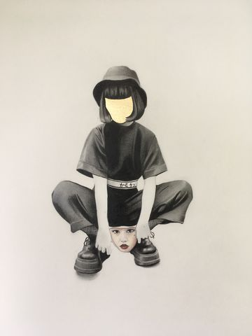 A,Faceless,beauty,drawing, art, pop, beauty, original, affordable, japan, surreal, artwork, gold