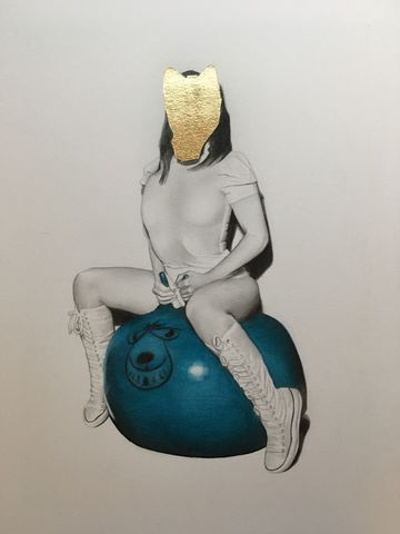'Jessica',drawing, original. art, artwork, pencil, gold, gold leaf