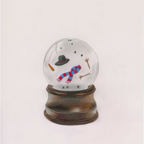 'Snowball,warming',art, artwork, pop, popar,t realism, pencil, drawing, twisted, toys, retro, gift, giclee, print, prints