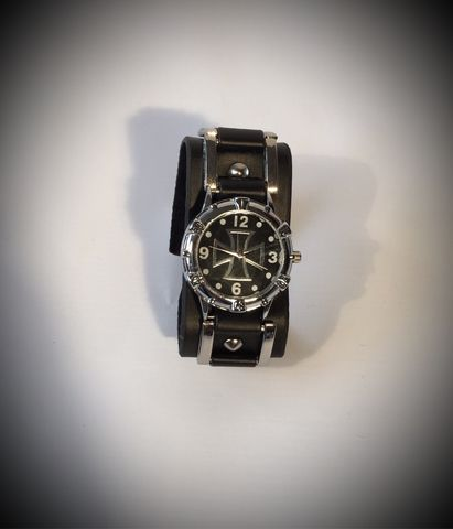 Leather,Cuff,WideStrap,Watch,-,Black,Cross, Rod, Ace, www.CrossRodAce.com, Cross, Black, Leather, CrossRodAce, Wide, Strap, Watch, Hotrod, hot, rod, cars, bikes, choppers, bobber, hotrodder, kustom, lowrider, low, rider, drag, racing, racer, dragracer, hell driver, helldriver, nostalgia, nos