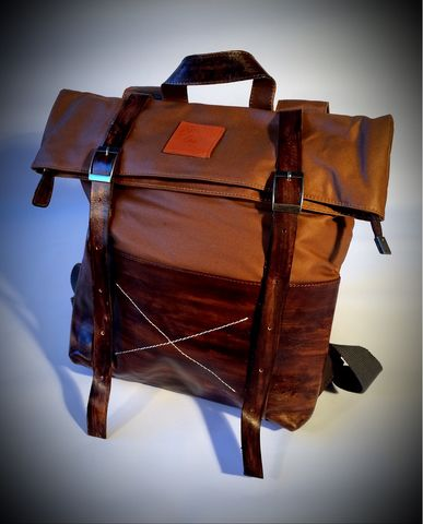 Leather,Canvas,Roll-Top,Rucksack,Bag,-,Brown/Khaki,Cross, Rod, Ace, www.CrossRodAce.com, CrossRodAce, Leather, Patched, Tan, Brown, Kahki, Canvas, Vintage, Waterproof, Bagbase, Roll, Top, Backpack, Rucksack, Bag, Hotrod, hot, rod, cars, bikes, choppers, bobber, hotrodder, kustom, lowrider, low, r