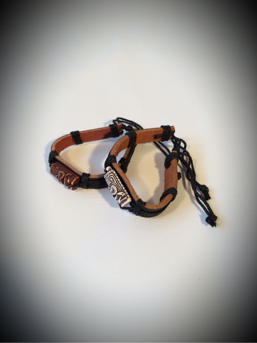 Brown Resin Leather Tiki Bracelet - product images  of