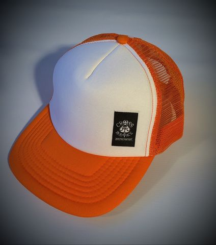 Mesh,Trucker,Snapback,Cap,with,Side,Patch,-,Orange/White,Cross, Rod, Ace, www.CrossRodAce.com, CrossRodAce, Side, Patched, Orange, White,  Snapback, Trucker, Hat, Cap, Hotrod, hot, rod, cars, bikes, choppers, bobber, hotrodder, kustom, lowrider, low, rider, drag, racing, racer, dragracer, hell driver, helldrive