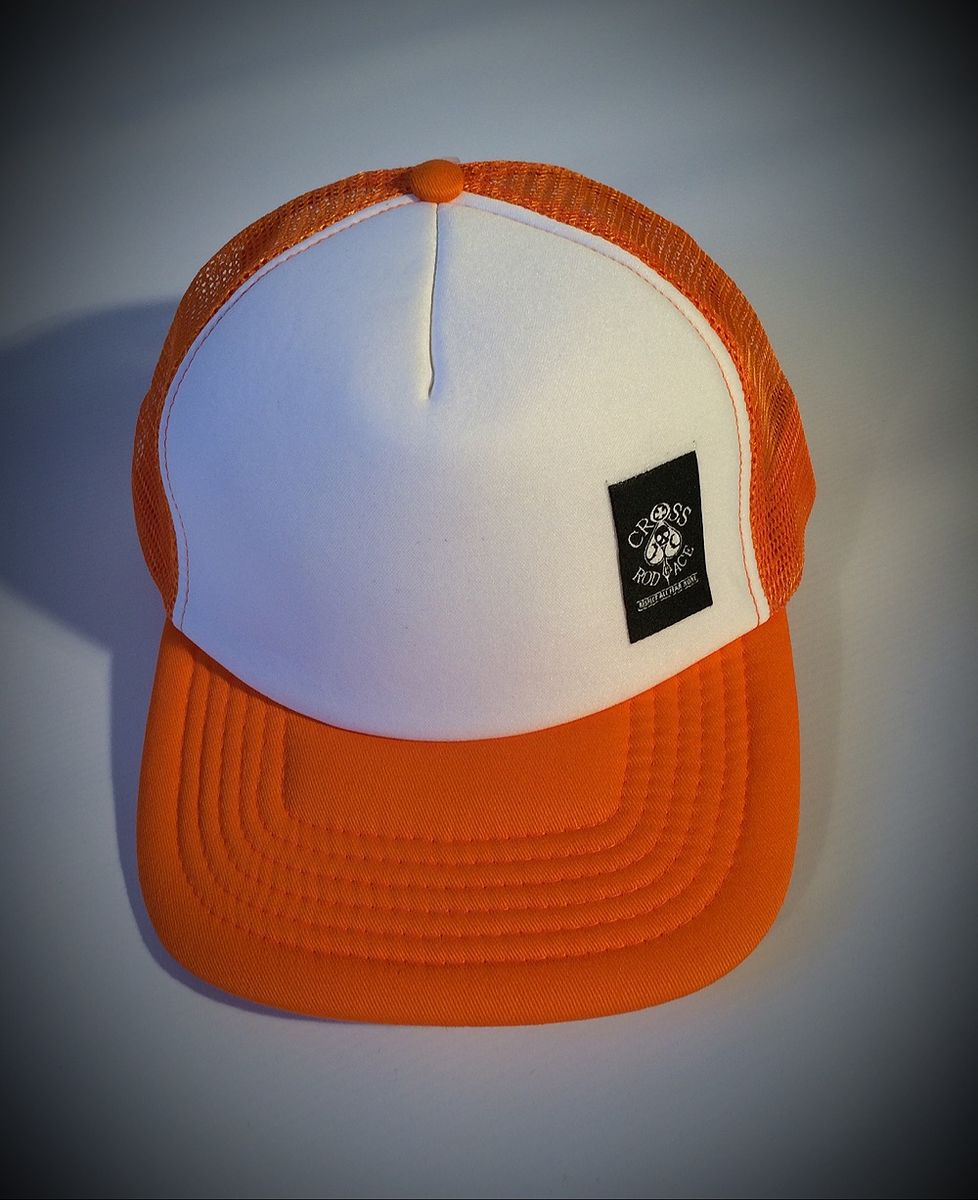 Mesh Trucker Snapback Cap with Side Patch - Orange/White - product images  of