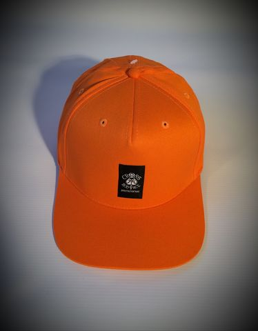 Orange,Snapback,Trucker,Panel,Cap,Cross, Rod, Ace, www.CrossRodAce.com, CrossRodAce, Cental, Patched, Black, Snapback, Trucker, Hat, Cap, Hotrod, hot, rod, cars, bikes, choppers, bobber, hotrodder, kustom, lowrider, low, rider, drag, racing, racer, dragracer, hell driver, helldriver, nost