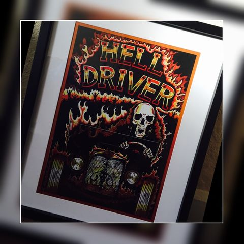 Hell,Driver,Print,Posters,Cross, Rod, Ace, www.CrossRodAce.com, CrossRodAce, Prints, Biker, Hotroder, Black, Original, Floor, The, Bitch, Crew, Neck, Tshirt, Tee, Hotrod, hot, rod, cars, bikes, choppers, bobber, hotrodder, kustom, lowrider, low, rider, drag, racing, r
