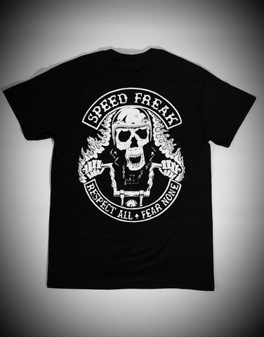 'Speed,Freak',Biker,Black,Tee/Tshirt,Cross, Rod, Ace, www.CrossRodAce.com, CrossRodAce, Biker, Hotroder, Black, Original, Speed, Freak, Tee, Crew, Neck, Tshirt, Hotrod, hot, rod, cars, bikes, choppers, bobber, hotrodder, kustom, lowrider, low, rider, drag, racing, ra