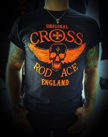 'Flying,Skull',Black,Tee/Tshirt,-,Black/Orange,Fying skull tee; Fying skull black tee; fying skull black tshirt; black tee; cool black tshirt; cool black tee; cool skull tee; Ace; www.crossrodace.com; CrossRodAce; Biker; Hotroder; Black; Original crossrodace tee; Flying Skull; Hotrroder Tee; Crew neck