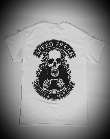 'Speed,Freak',Hotrodder,White,Tee/Tshirt,Cross, Rod, Ace, www.CrossRodAce.com, CrossRodAce, Biker, Hotroder, White, Original, Speed, Freak, Hotrroder, Tee, Crew, Neck, Tshirt, Hotrod, hot, rod, cars, bikes, choppers, bobber, hotrodder, kustom, lowrider, low, rider, drag, racing