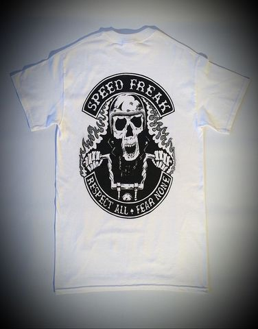 'Speed,Freak',Biker,White,Tee/Tshirt,Cross, Rod, Ace, www.CrossRodAce.com, CrossRodAce, Biker, Hotroder, White, Original, Speed, Freak, Tee, Crew, Neck, Tshirt, Hotrod, hot, rod, cars, bikes, choppers, bobber, hotrodder, kustom, lowrider, low, rider, drag, racing, ra