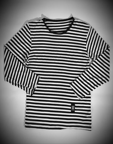 Striped,Long,Sleeve,Tee,-,Black/White,Cross, Rod, Ace, www.CrossRodAce.com, CrossRodAce, Biker, Hotroder, BlackandWhite, Stripped, Men, Vintage, Blackandwhite, Striped Military, Long, Sleeve, Tee, Crew, Neck, Top, Hotrod, hot, rod, cars, bikes, choppers, bobber, hotrodder, kustom, lowrider, l