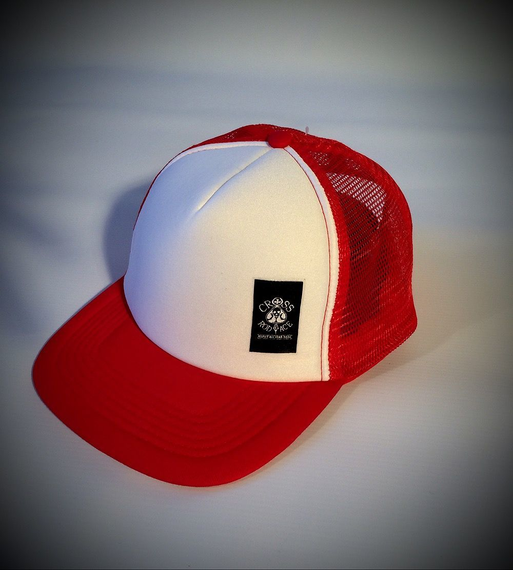e1610933c09 Snapback Trucker Cap with Side Patch - Red white - Cross RodAce ...