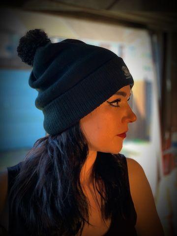 Women Black Bobble Beanie Hat - Cross RodAce - Lifestyle Apparel Company f5788df63b8