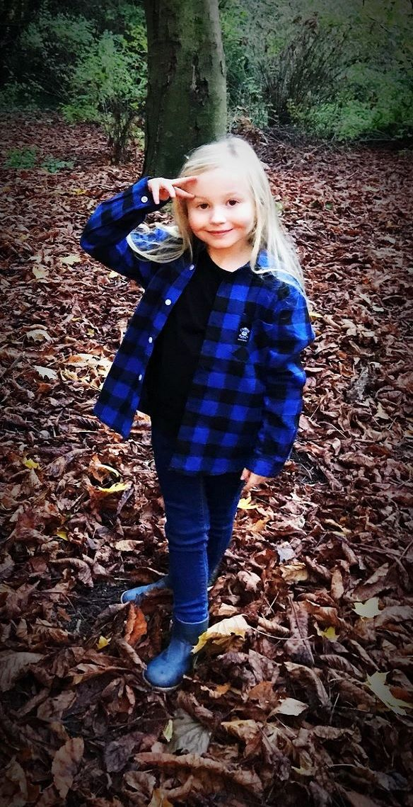 Girls Lumberjill Brushed Flannel Kids Check Shirt - Black/Blue - product images  of