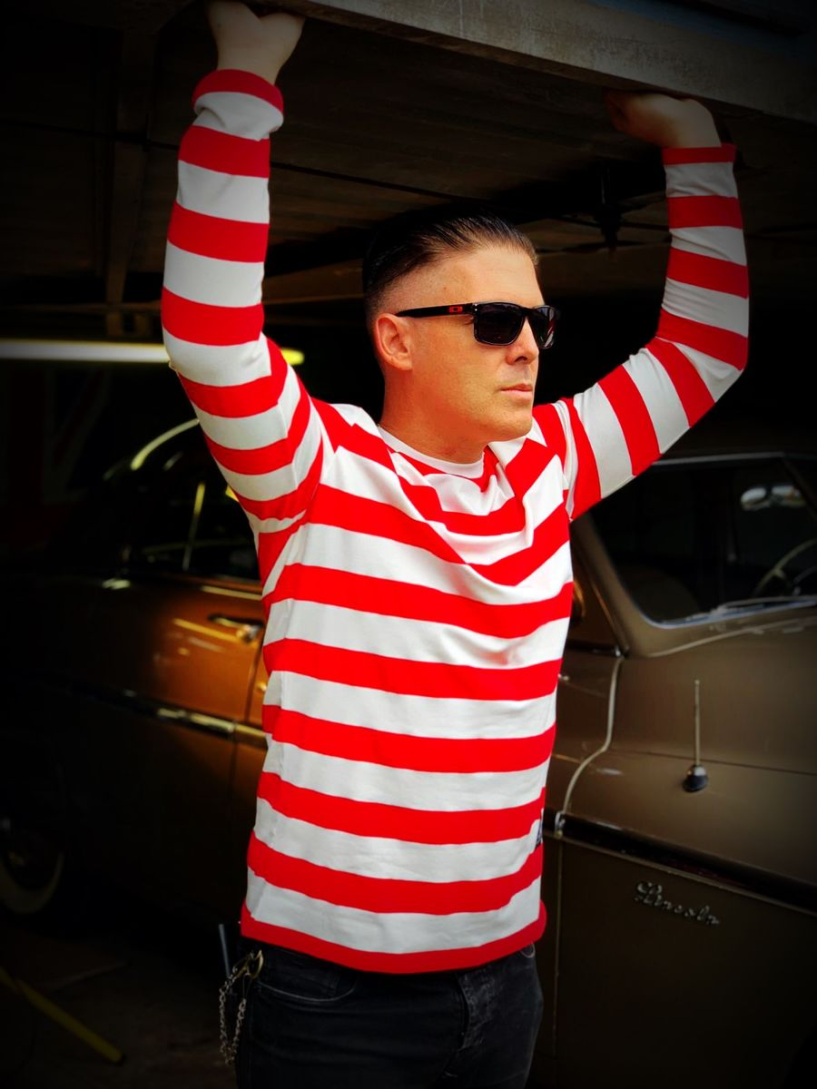 Red and White Wide Striped Long Sleeve Tee - product images  of