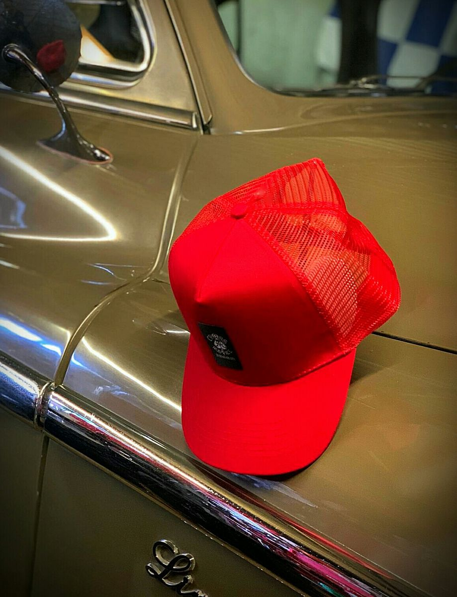 Red Panel Mesh Snapback Cap with Center Patch - product image