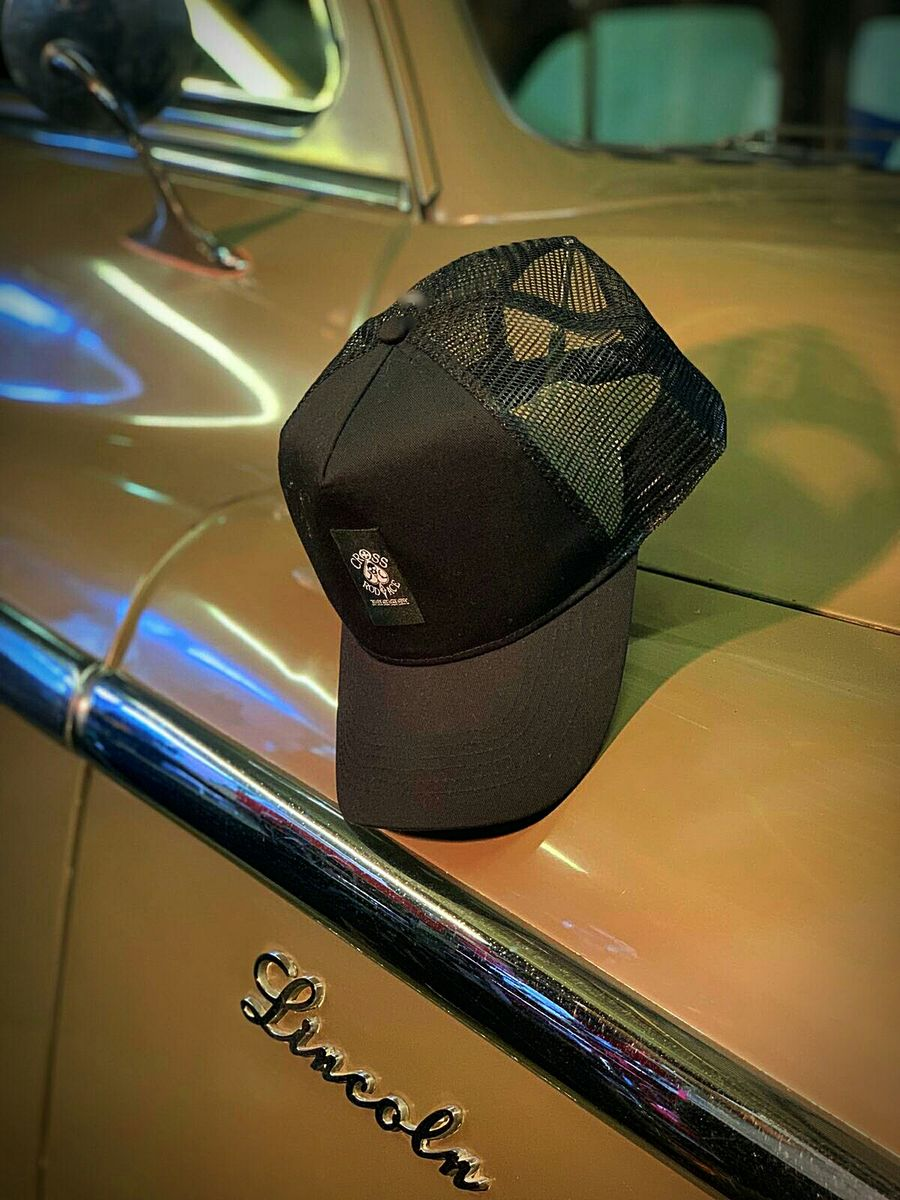 Black Panel Mesh Snapback Cap with Center Patch - product image