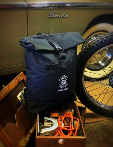 Roll-Top,Canvas,Backpack,Bag,-,Black,Cross, Rod, Ace, www.CrossRodAce.com, CrossRodAce, Patched, Tan, Kahki, Canvas, Vintage, Waterproof, Bagbase, Roll, Top, Backpack, Rucksack, Bag, Hotrod, hot, rod, cars, bikes, choppers, bobber, hotrodder, kustom, lowrider, low, rider, drag, racin