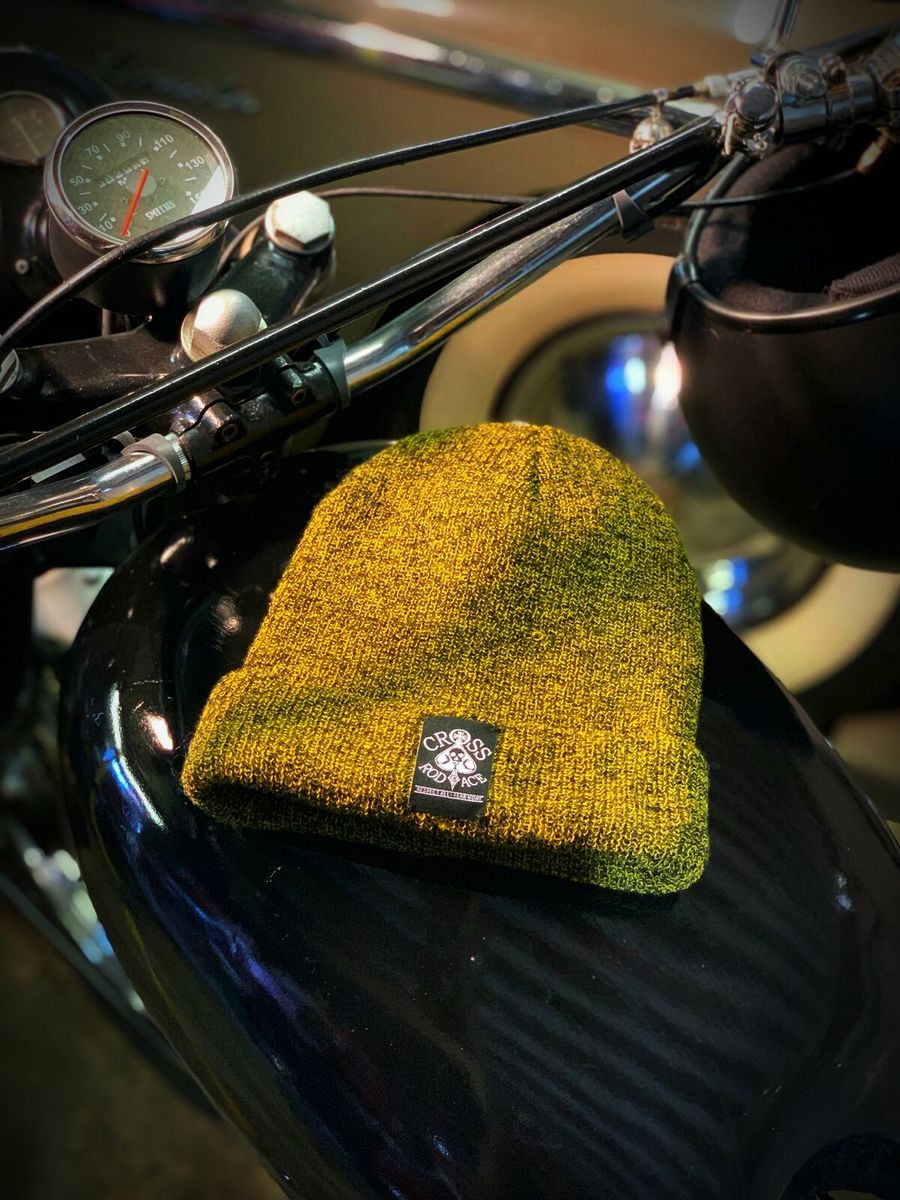 Melange Woolly Rusty Black Beanie Hat with Woven Patch - product image