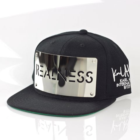 Realness,Chrome,Snapback,Karl Alley, Realness Chrome Snapback, Chrome, Metal, plate, snapback, hat, boy london