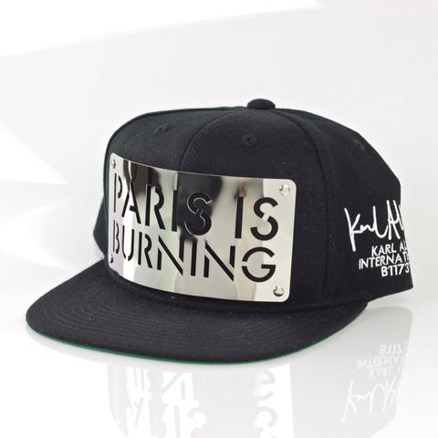 Paris,is,Burning,Chrome,Snapback,(Archive),Karl Alley, Paris is Burning Chrome, Snapback, Metal, plate, snapback, hat, boy london