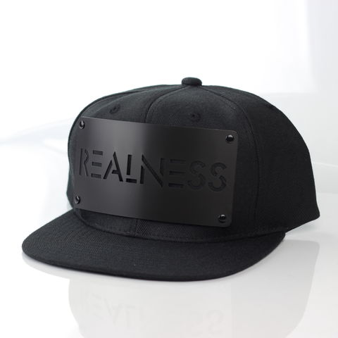 Realness,Black,on,Snapback,Karl Alley, Metal, plate, snapback, hat, boy london
