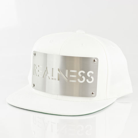 Realness,White,Snapback,Karl Alley, Realness, White , Chrome, Snapback, Metal, plate, snapback, hat, boy london