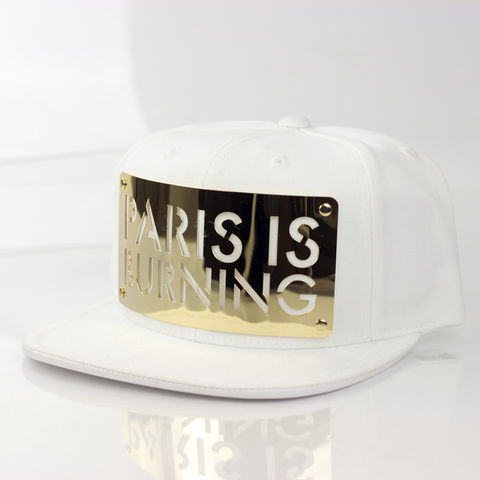 Paris,is,Burning,18K,Gold,Snapback,(White),Karl Alley, Paris, Paris is Burning, White, GOLD,  18k, 18 karat, Metal, plate, snapback, hat, boy london