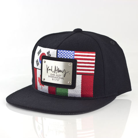 World,Flags,Signature,Snapback,(Brushed,Steel,-,Archive),Karl Alley, World flags, Metal plate, snapback, hat, cap, long clothing, boy london, #karlalley