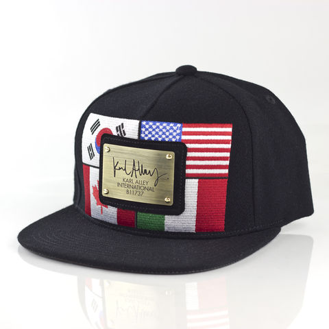 World,Flags,Signature,Snapback,(Antique,Gold,-,Archive),Karl Alley, World flags, flag, Metal plate, snapback, hat, cap, long clothing, boy london, #karlalley