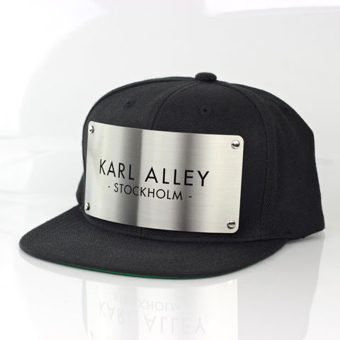 Karl,Alley,Stockholm,Snapback,(Black,-,Archive),Karl Alley, Stockholm, Black , Brushed, Snapback, Metal, plate, snapback, hat, boy london