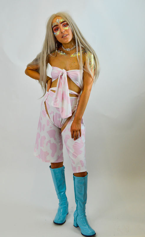 Baby Pink Ride 'Em Cropped Chaps and Matching Hot-pants  - product images  of