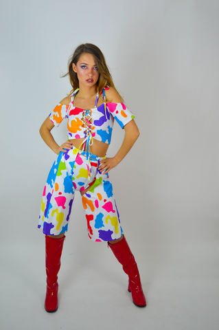 Rainbow,Ride,'Em,Cropped,Chaps,and,Matching,Hot-Pants,cow girl, babydol clothing, chaps, cropped chaps, colourful, festival clothing, rainbow