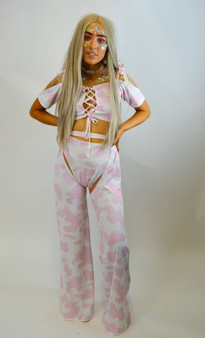 Baby,Pink,Ride,'Em,Chaps,and,Matching,Hot-Pants,(Full,length),chaps, cowgirl, colourful, pink, babydoll, babydolclothing, festival, festival season