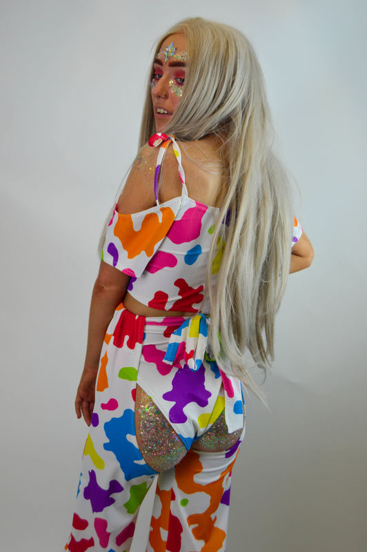Rainbow Ride 'Em Off the Shoulder Crop  - product images  of