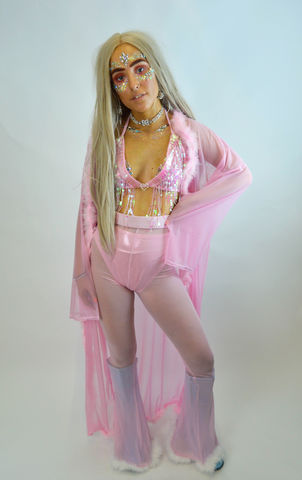 Baby,Pink,Sheer,Flares,and,Lycra,Hot-Pants,sheer flares, marabou