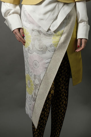 Floral,brocade,mock,wrap,skirt, pencil, asymmetric, fitted, fashion week, brocade, high waist, tailored, pink, yellow, white