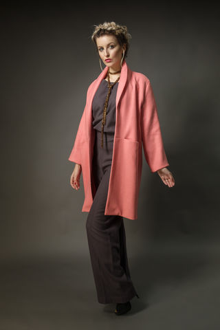 Rich,coral,wool,shawl,collared,coat, coral, wool, summer, pastel, womenswear, tailoring, silk
