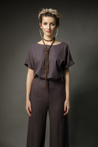 Box,slash,neck,top,and,high,waist,trousers,wool, trousers, top, daywear, summer, fashion