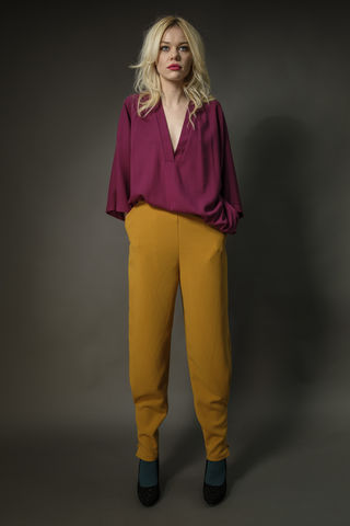 Slim,Leg,Trousers,With,Ankle,Pleat,trousers, mustard, trend, fashion, relaxed, slouchy