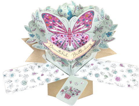 Second,Nature,Pop,Ups,-,Butterfly,Second Nature Pop Ups, Original Pop-ups, Pop up greeting card, Pop up, Pop-up, Pop-ups, Birthday,  Butterfly, Flowers, Animal, Blue, Pink