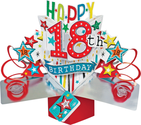 Second,Nature,Pop,Ups,-,18th,Birthday,(Stars),Second Nature Pop Ups, Original Pop-ups, Pop up greeting card, Pop up, Pop-up, Pop-ups, 18th Birthday, Stars, Colourful