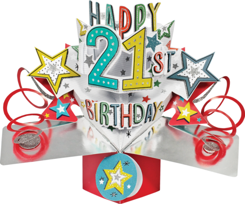 Second,Nature,Pop,Ups,-,21st,Birthday,(Stars),Second Nature Pop Ups, Original Pop-ups, Pop up greeting card, Pop up, Pop-up, Pop-ups, 21st Birthday, Stars, Colourful